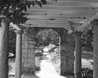 Arbor in Black and White at Maymont Park in Richmond Va, 8x10 Photo, Frame Available