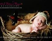 Premie Baby Aviator Hat  Brown & Tan /  Photo Prop