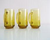 Set of 3 Tall Amber Mugs
