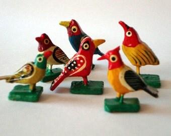 12 bird figurines hand painted hand sculpted wood sculpture set of 12 birds