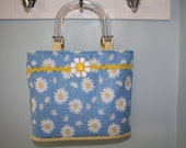 Blue Daisy Floral Purse With Plastic Handles