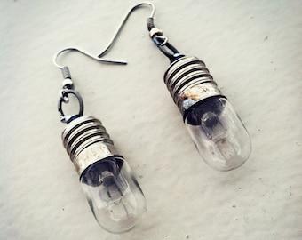 Tiny Steampunk Lightbulb Earrings