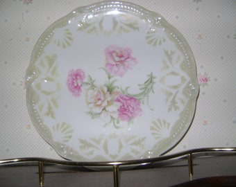 VINTAGE Made in Germany Plate with Beautiful PINK CARNATIONS