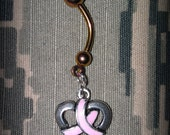 Pink Ribbon Heart Anodized Belly Ring