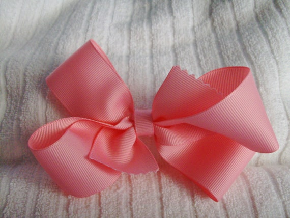 Barrette - Pink Hair Bow - Twisted Pinwheel Bow - Boutique Hair Bow