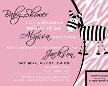 Zebra Baby Shower Invitations Printable - Zebra Shower Invite - Pink Blue Green Black Purple Yellow - Baby Shower Girl or Boy Invite - Zebra