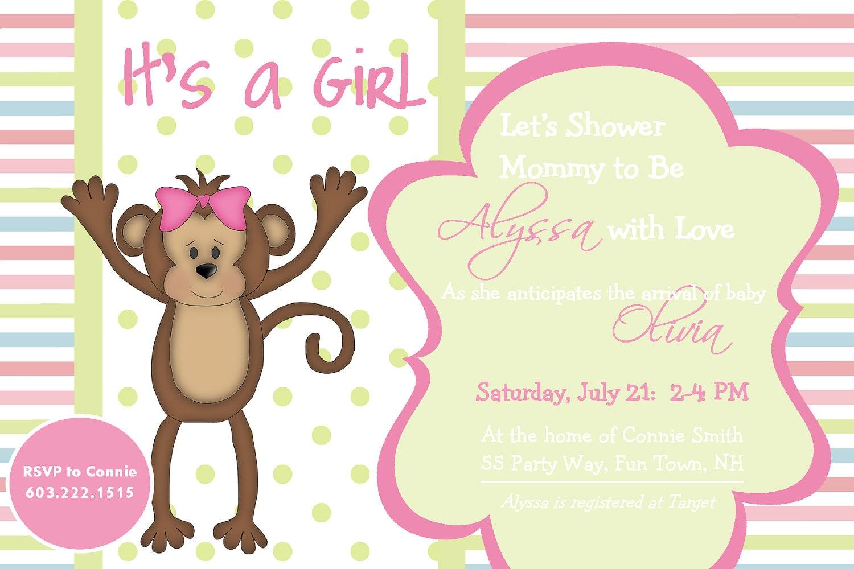 baby shower girl invitation monkey monkey by asyouwishcreations4u