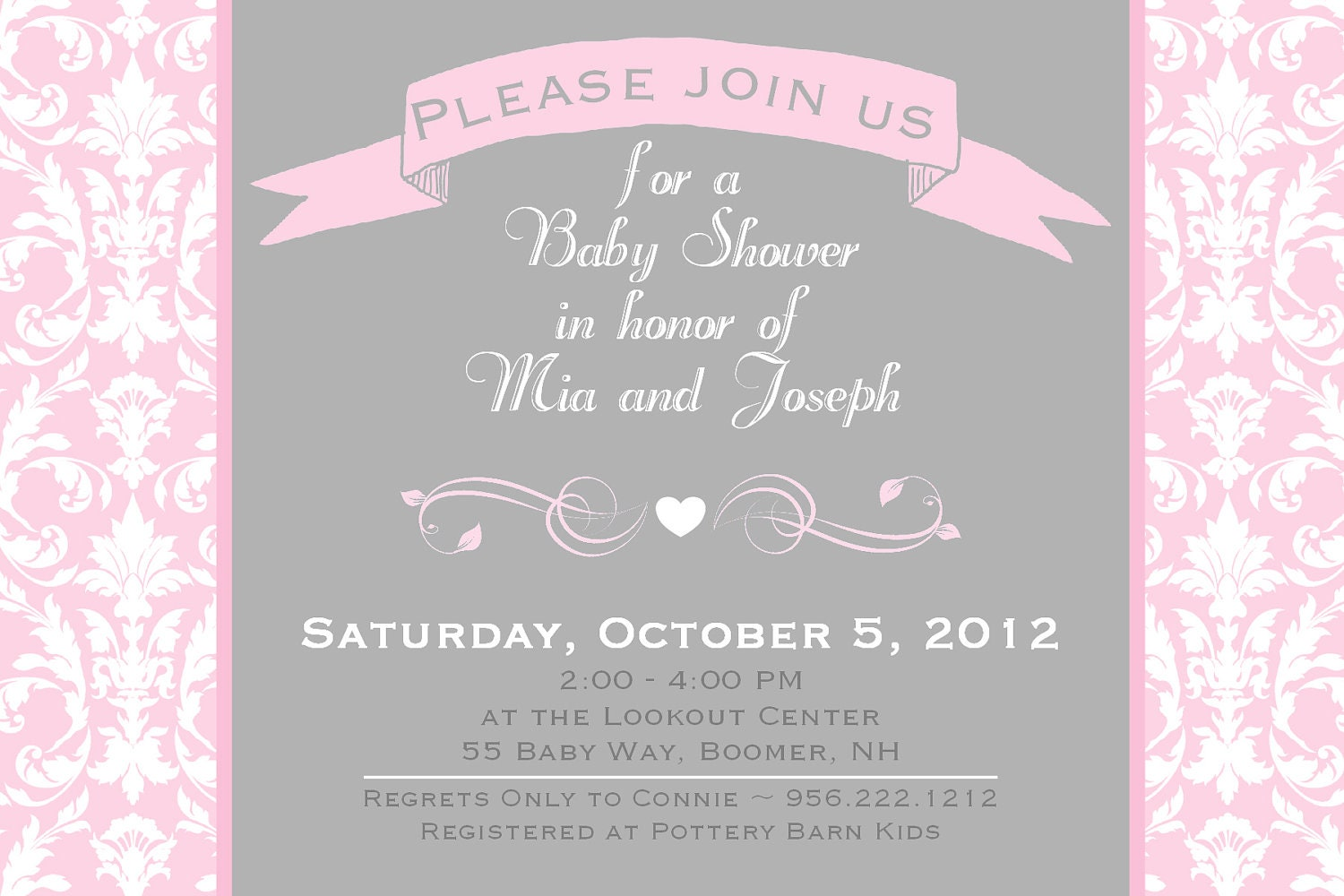 baby shower invitation damask pink gray by asyouwishcreations4u