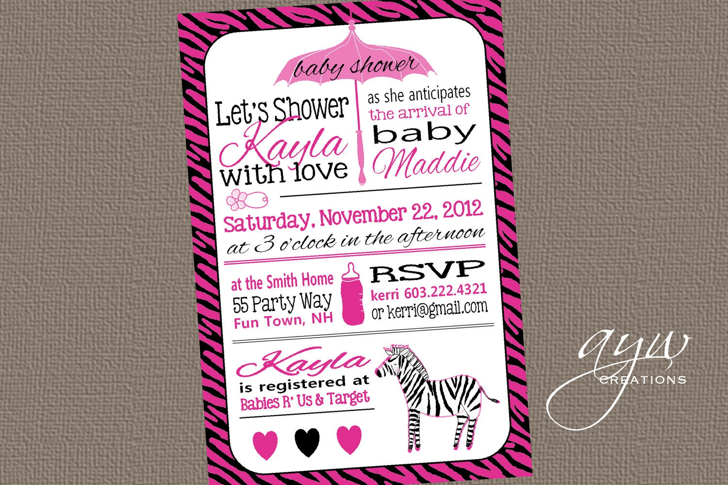 zebra baby shower invitation girl invitation zebra baby shower