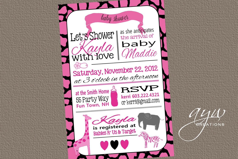 Pink Safari Baby Shower Invitations is perfect invitations layout
