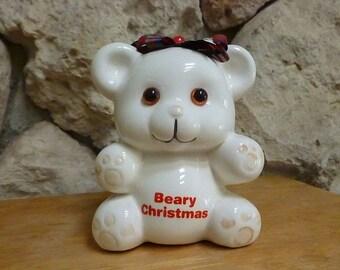 Vintage Enesco Beary Christmas Teddy Bear Bank