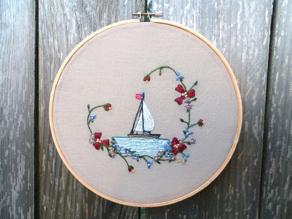 Nautical hand embroidered sail boat hoop art picture with american flag