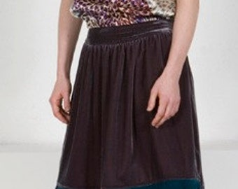 ColorBlocked Plum w.Teal Silk-Velvet Skirt w/Quilt-Waist, Shirring & Pockets.  Burgundy Velvet Skirt. SALE