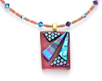 Pink, Purple, and Aqua Dichroic Glass Pendant on a Seed Bead and Crystal Beaded Necklace