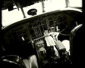 """Vintage World War II Airplane Cockpit 2, Aviation Photo, 10""""x10"""" Photograph, Vintage Airplane, Vintage Aircraft, Airplane Decor"""