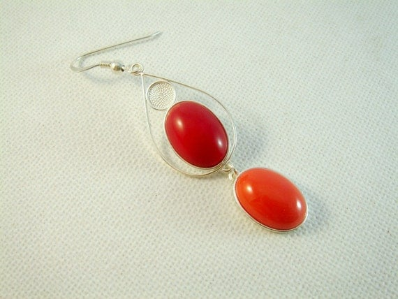 Sterling Silver Red Stone Earrings