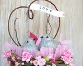 Wedding Cake Topper , Pink  Rustic Wedding , Love Birds , Baby Shower