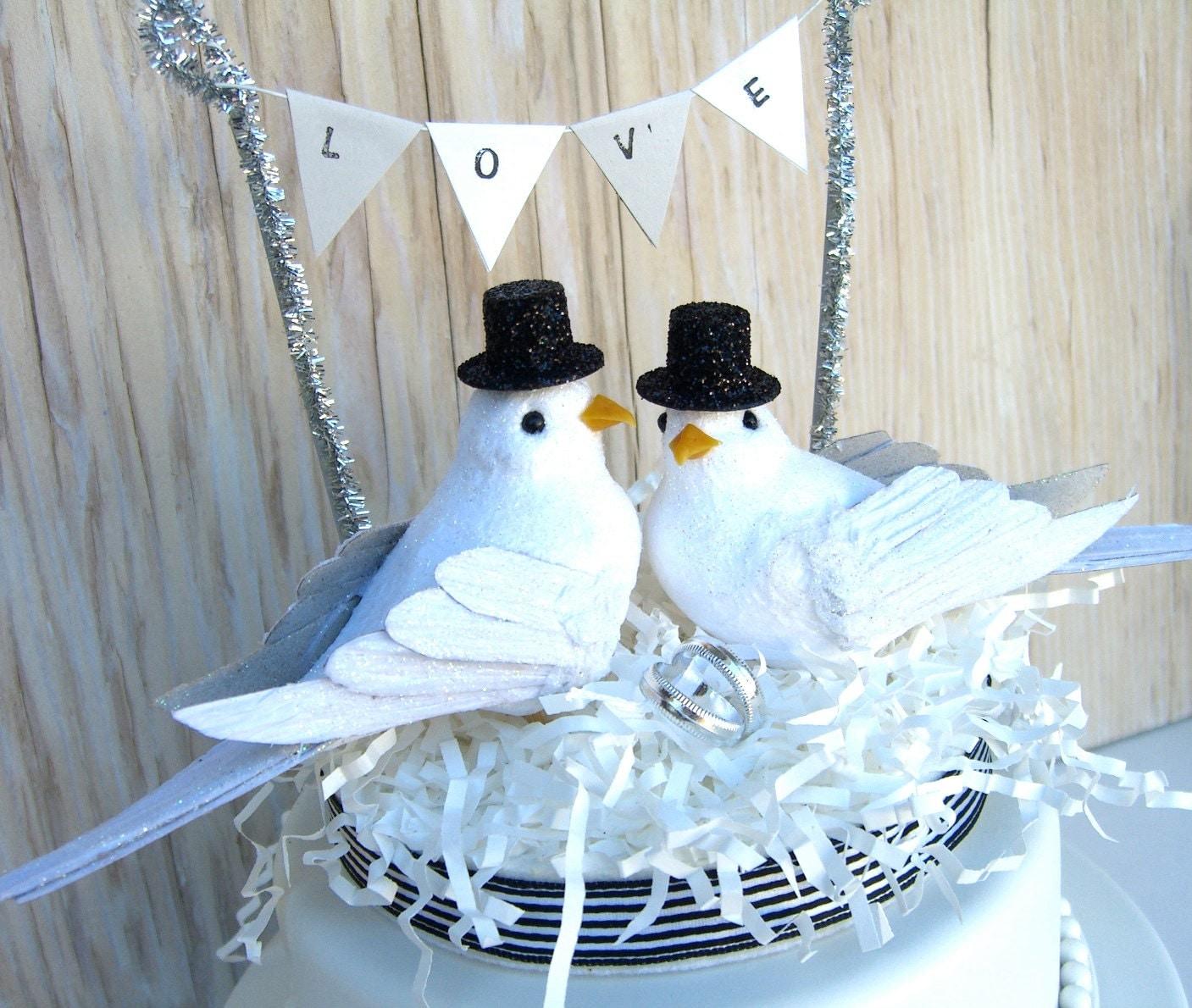 Bird Cake Topper Same Wedding Black and White Gay