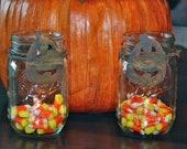 Set of 2 Halloween Mason Jar Candle Holders with Natural Twine and Rustic Tin Pumpkin Accents