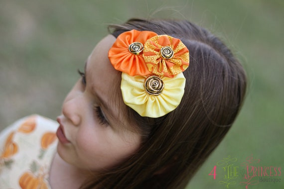 orange and yellow yoyo cluster headband