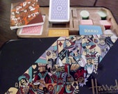 Vintage Harrods Knightsbridge tin with Modiano playing cards and poker chips summer sale