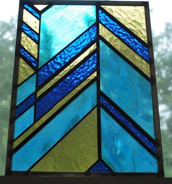 Blue Angler-chevron leaded stained glass panel