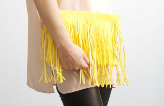 S U N /Yellow and Silver womens leather clutch with fringe