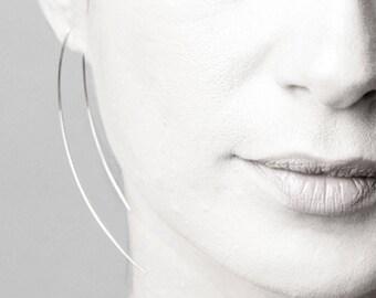 Long silver earrings- Ear jacket, Dainty earrings, minimal jewelry, threader earrings, Gift for her, Handcrafted jewelry,Geometric Earrings