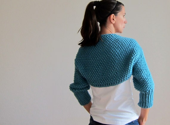 Knitted Bolero in blue. Knitted Sleeves, Cardigan, Chunky blue Scarf. Knitted shrug Blue wrap.