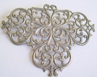 Vintage Brooch Ornate Open Work Silver Art Nouveau