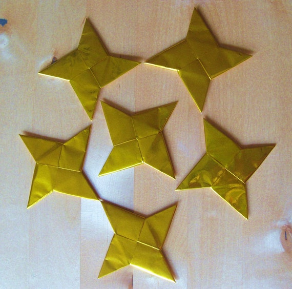 Origami Ninja Stars - Set of 6 Gold or Silver Ninja Throwing Stars for party favors, table favors, or a fun gift