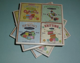 Coasters Sewing, Knitting, Crochet, Quilting, Felt-Backed Tile Set of Four