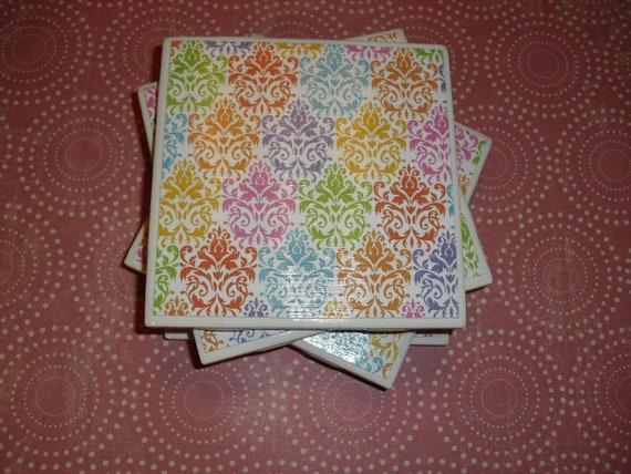 Tile Coasters Set of Four:Damask Pattern, Pink, Purple, Green, Blue, Yellow, and Orange, Felt-Backed, Tile