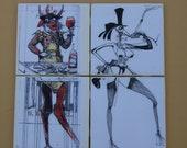 Tile Coaster Set ( Ralph Steadman, Hunter S. Thompson)