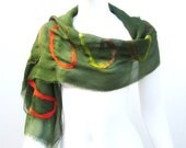Scarf Autumn Fashion Silk Merino Nuno Felt Wrap Olive Green Fall Shawl