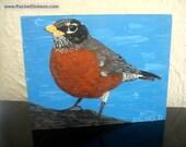 Big Red (American Robin) is an acrylic on wood original painting by artist Rachel Dickson