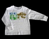 Long Sleeve Roar Dinosaur Birthday Boy Personalized T Shirt - Custom Funny T Rex Kids Shirt - Childrens Birthday Party Clothing