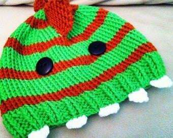 Knitted Childrens or Baby Beanie Hat Dinosaur or Monster Orange and Green
