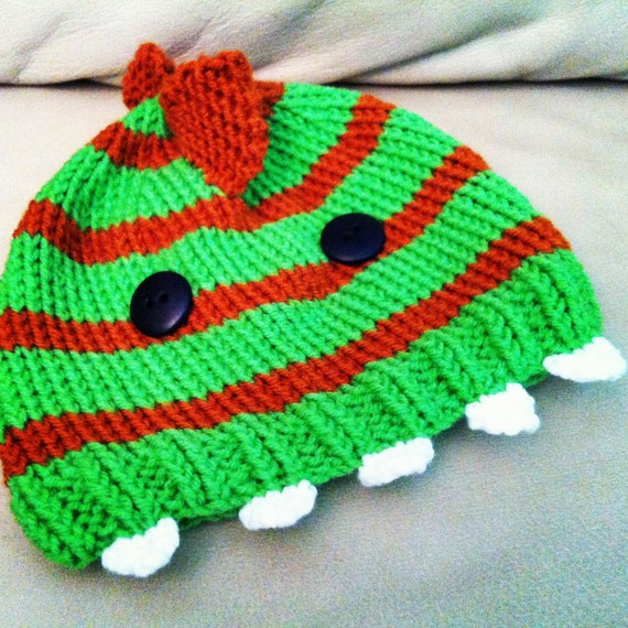 Knitted Childrens or Baby Beanie Hat Dinosaur or Monster