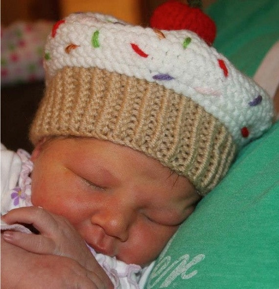 Knitted Baby Beanie Hat Cupcake Sprinkles