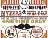 Victorian Circus Wedding Invitation- DIY Printable PDF- dancing bears