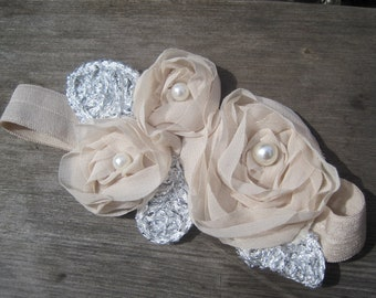 SALE, Beige flower headband, Baby Headband, Baby Girl headband, Baby Bow, Infant Headband, Infant Bow, Newborn Headband