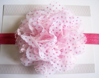 Hot Pink Polka Dot Chiffon Baby Headband, Infant Headbands, Baby Girl Headbands, Infant Bows, Baby Bows, Newborn Headbands
