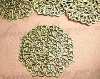 12pc 30mm antique bronze filigree wraps-5882