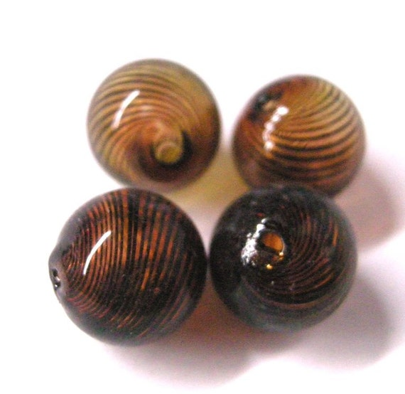 6pc 12mm blown glass fancy beads-5442