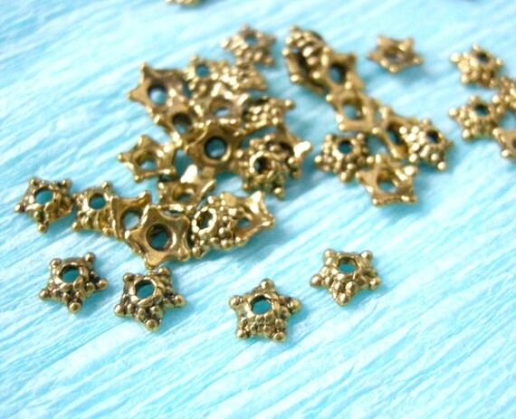 24pc 5.5mm antique gold lead nickel free bead cap-5529