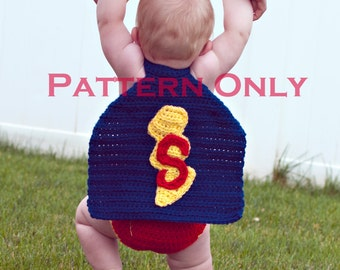Instant Download PDF Super Baby Crochet Cape and Diaper Cover PATTERN