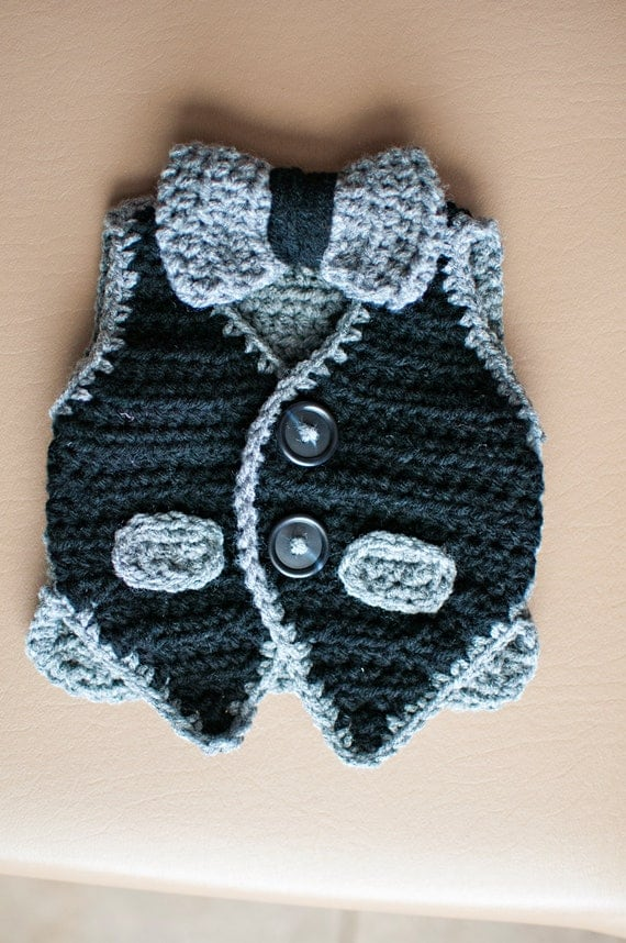 Crochet Vest and Bowtie Ready-to-ship sixe 3-6 months