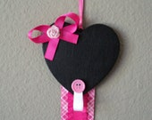 clip holder -- heart chalkboard with pink ribbon -- SALE