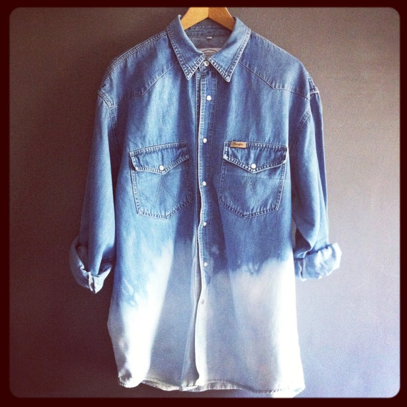 "Vintage Wrangler 90s Denim Shirt  Dip Dyed Bleached L Large  (o) Ombre 50"" chest"
